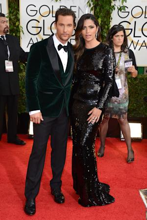 Matthew McConaughey, left, and Camila Alves arrive at the 71st annual Golden Globe Awards at the Beverly Hilton Hotel on Sunday, Jan. 12, 2014, in Beverly Hills, Calif. (Photo by Jordan Strauss/Invision/AP)