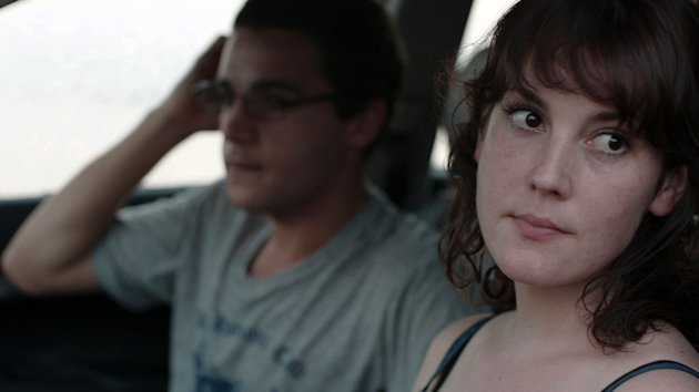 "This film image released by Oscilloscope Laboratories shows Christopher Abbott, left, and Melanie Lynskey in a scene from ""Hello I Must Be Going."" (AP Photo/Oscilloscope Laboratories)"
