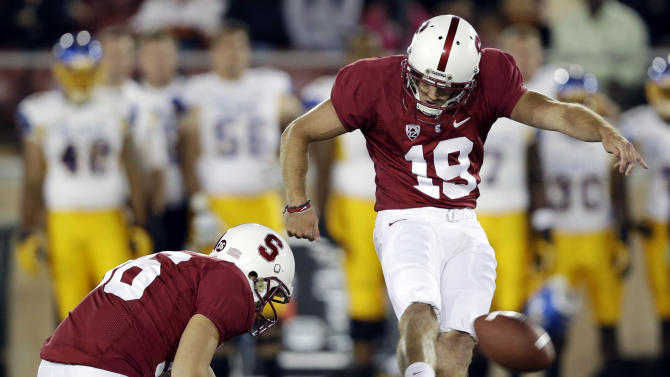 Stanford's Jordan Williamson (19) kicks a 46-yard field goal against San Jose State during the first half of an NCAA college football game in Stanford, Calif., Friday, Aug.  31, 2012. (AP Photo/Marcio Jose Sanchez)