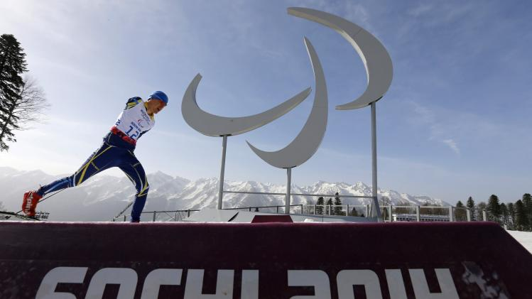 Ukraine's Vitalii Sytnyk skis during the men's 20 km cross-country standing at the 2014 Sochi Paralympic Winter Games in Rosa Khutor