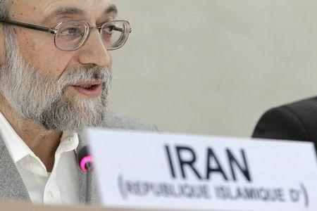 Larijani, secretary of Iran's High Council for Human Rights and advisor to chief of judiciary on international affairs, who is leading Iran's delegation, speaks at U.N. European headquarters in Geneva