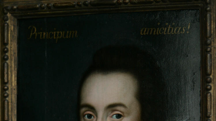 FILE - This is a  Monday March 9, 2009 file of a then newly discovered portrait of William Shakespeare, presented by the Shakespeare Birthplace trust, is seen in central London,  New research depicts William Shakespeare as a grain hoarder, moneylender and tax dodger who became a wealthy businessman during a time of famine.(AP Photo/Lefteris Pitarakis)