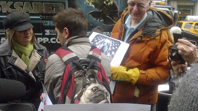 FILE - In this Feb. 14, 2012, file photo, Sake, a pug, center, is carried in a backpack by his owner Tate Hausman of Brooklyn during a protest aimed at Republican presidential candidate Mitt Romney in New York, outside Madison Square Garden, where the Westminster dog show is taking place. Campaign 2012 is rich with images that conjure the seriousness and silliness that unfold side-by-side in any presidential race. Remember all the talk about Romney putting Seamus the dog in a crate on top of the car for a family trip to Canada years ago? Romney's fans thought it was a fun way to humanize the button-down corporate candidate. A lot of dog lovers were not amused. And the revelation that the dog developed internal issues that required both the car and dog to be hosed off created a visual image that is best forgotten quickly. (AP Photo/Ginger Tidwell, File)