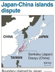 Graphic showing the disputed islands claimed by both Japan and China. The Chinese government sent ships to waters controlled by Japan on Tuesday