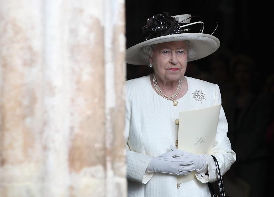 Britain's Queen Elizabeth II leaves a service marking the 400th anniversary of the King James Bible at Westminster Abbey, London, Wednesday, Nov. 16, 2011. The first edition of the King James Bible was published in 1611.  (AP Photo/Chris Jackson, Pool)