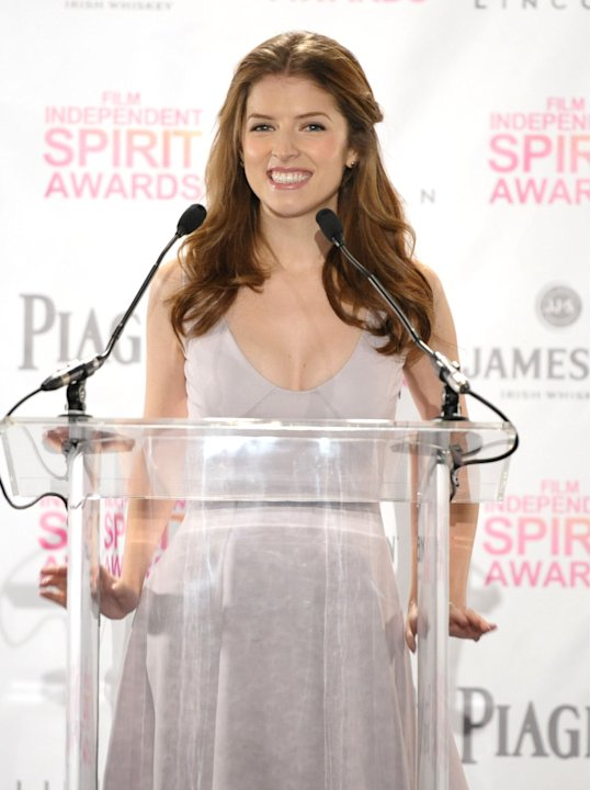 Anna Kendrick appears on stage at the Film Independent Spirit Awards Nominations press conference at The W Hotel Hollywood on Tuesday, Nov. 27, 2012, in Los Angeles. The show will be held on Saturday,