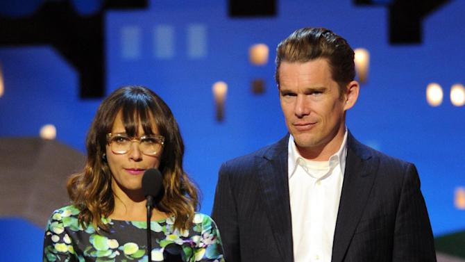 Rashida Jones and Ethan Hawke present an award onstage at the Independent Spirit Awards on Saturday, Feb. 25, 2012, in Santa Monica, Calif. (AP Photo/Vince Bucci)