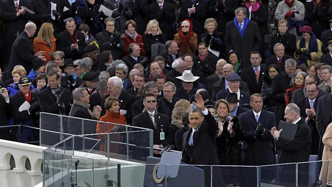 President Barack Obama waves after delivering his Inaugural address at the ceremonial swearing-in at the U.S. Capitol during the 57th Presidential Inauguration in Washington, Monday, Jan. 21, 2013. (AP Photo/Carolyn Kaster)