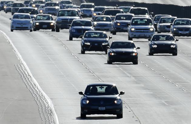 Vehicles travel north from San Diego to Los Angeles along Interstate Highway 5 in California