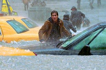 Jake Gyllenhaal on the flooded streets of New York City in 20th Century Fox's The Day After Tomorrow
