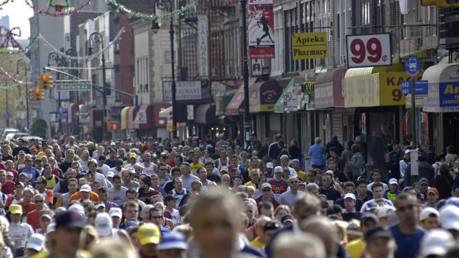 FILE - In this Sunday, Nov. 5, 2006 file photo, runners make the turn off Bedford Avenue onto Manhattan Avenue in the Greenpoint neighborhood of Brooklyn in the New York City Marathon. It's dramatic news when a marathon runner collapses with no pulse. A big study published in the Thursday, Jan. 12, 2012 edition of the New England Journal of Medicine finds such calamities are rare and usually due to a pre-existing heart problem. The study also found such incidents are increasing as more runners try to go the distance. (AP Photo/Benny Snyder)