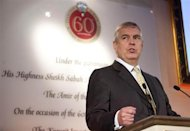 Britain's Prince Andrew speaks at an event at Lancaster House to mark the 60th Anniversary of the Kuwait Investment Office (KIO), attended by the Emir of Kuwait, Sheikh Sabah al-Ahmad al-Sabah, in central London November 28, 2012. REUTERS/David Parry/Pool