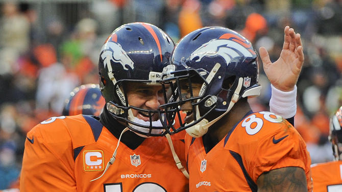 Denver Broncos quarterback Peyton Manning (18) congratulates Denver Broncos wide receiver Demaryius Thomas (88) after a touchdown in the third quarter of an NFL football game against the Kansas City Chiefs, Sunday, Dec. 30, 2012, in Denver. (AP Photo/Jack Dempsey)