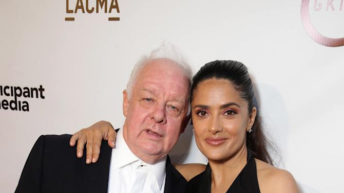 "Jim Sheridan and Producer Salma Hayek seen at Participant Media Special Los Angeles Screening of ""Kahlil Gibran's The Prophet"" held at LACMA's Bing Theater on Wednesday, July 29, 2015, in Los Angeles. (Photo by Eric Charbonneau/Invision for Participant Media/AP Images)"