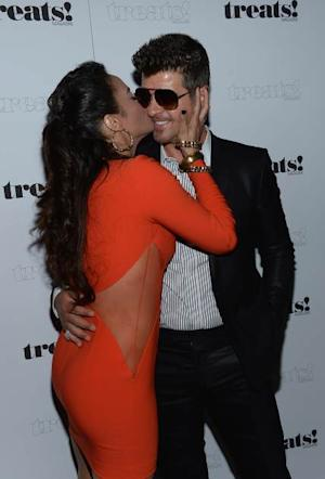 Paula Patton and Robin Thicke attend the Treats! Magazine cover party, where he performed 'Blurred Lines,' No. 8 on September 4, 2013 in New York City  -- Getty Images