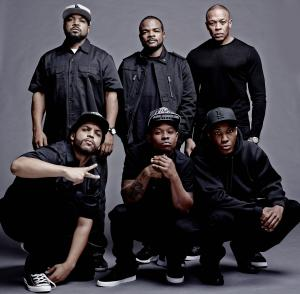 """This photo released by Universal Pictures shows the cast and filmmakers of """"Straight Outta Compton, """" clockwise, from top left, producer Ice Cube, director F. Gary Gray, producer Dr. Dre, Corey Hawkins (Dr. Dre), Jason Mitchell (Eazy-E) and O'Shea Jackson Jr. (Ice Cube). (AP Photo/Universal Pictures, Todd MacMillan)"""