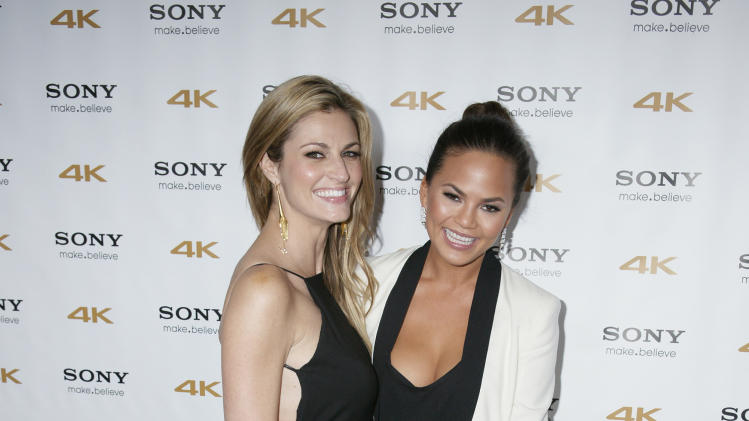 IMAGE DISTRIBUTED FOR SONY - Erin Andrews and Chrissy Teigen arrives at Sony 4k: Live Beyond Definition on Thursday, Nov. 29, 2012, in Los Angeles. (Photo by Joe Kohen/Invision for Sony/AP Images)