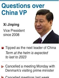 Graphic on China&#39;s leader-in-waiting Xi Jinping, whose cancellation of high-profile meetings has triggered speculation about his whereabouts