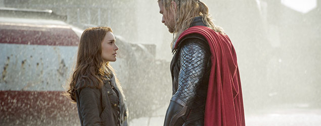 Natalie Portman and Chris Hemsworth in Thor: The Dark World (Marvel)