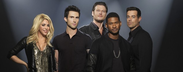 "(L-r) Shakira, Adam Levine, Blake Shelton, Usher, Carson Daly on ""The Voice"" (Mark Seliger/NBC/NBCU Photo Bank via Getty Images)"