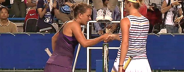 Barbora Zahlavova Strycova's handshake with a foe causes a buzz on the women's tennis tour. (YouTube)