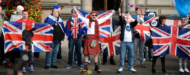 """No"" supporters for the Scottish independence referendum celebrate at a hotel in Glasgow. (Matt Dunham/AP)"