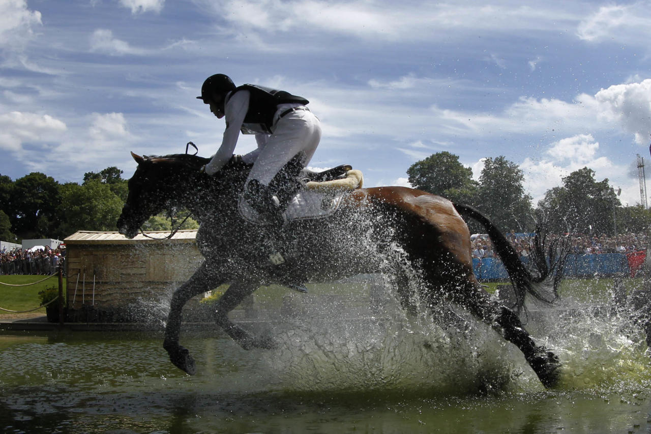 Germany's Dirk Schrade competes with his horse, King Artus, in the equestrian eventing cross country phase at Greenwich Park, at the 2012 Summer Olympics, Monday, July 30, 2012, in London. (AP Photo/Markus Schreiber)