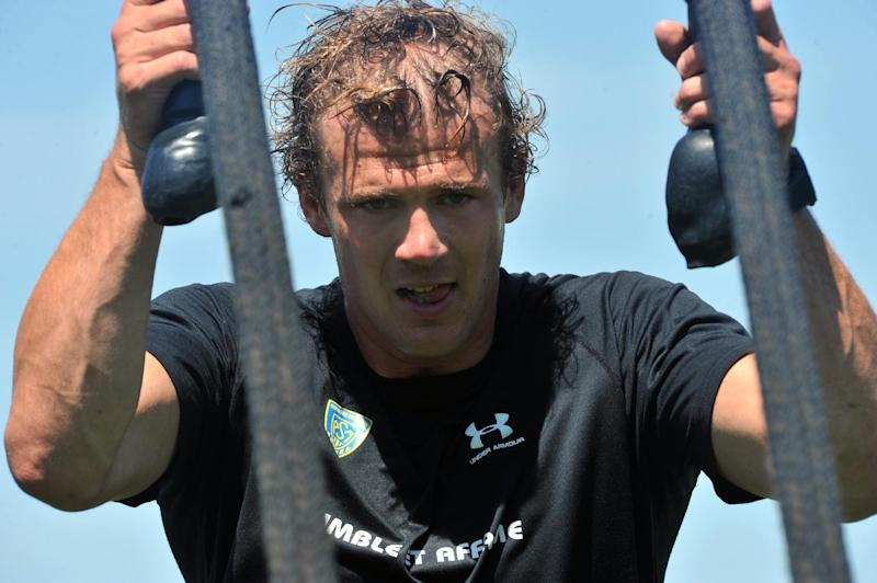 Clermont captain Aurelien Rougerie takes part in a training session at the Stade Des Gravanches stadium in central France, on July 17, 2014