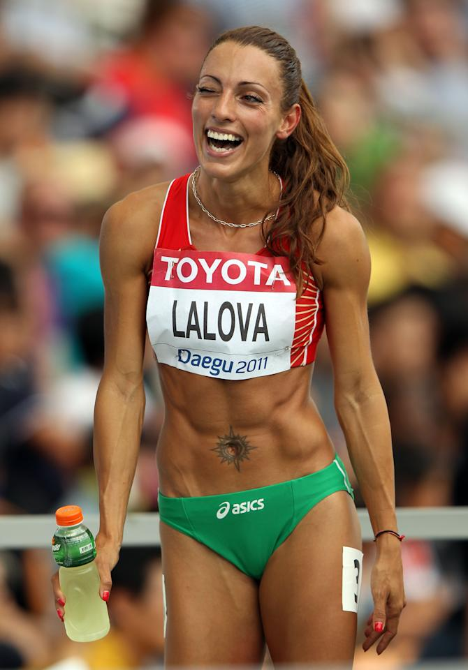 DAEGU, SOUTH KOREA - AUGUST 28:  Ivet Lalova of Bulgaria smiles afer winning her women's 100 metres heats during day two of the 13th IAAF World Athletics Championships at the Daegu Stadium on August 28, 2011 in Daegu, South Korea.  (Photo by Ian Walton/Getty Images)