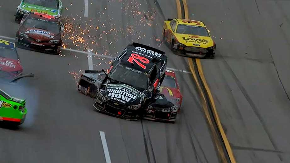 Kurt Busch goes for a wild ride after Ricky Stenhouse Jr. starts a big wreck late at Talladega Superspeedway.
