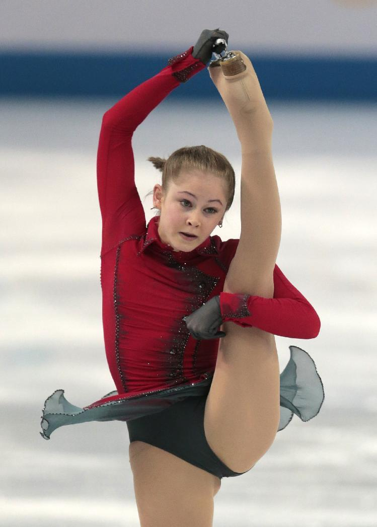 Julia Lipnitskaia of Russia competes in the women's team free skate figure skating competition at the Iceberg Skating Palace during the 2014 Winter Olympics, Sunday, Feb. 9, 2014, in Sochi, Russia. (AP Photo/Ivan Sekretarev)