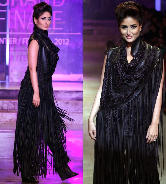 She walked the ramp for two designers - Kalol Dutta and Pankaj and Nidhi. This layered outfit is what she wore for the designer duo Pankaj and Nidhi