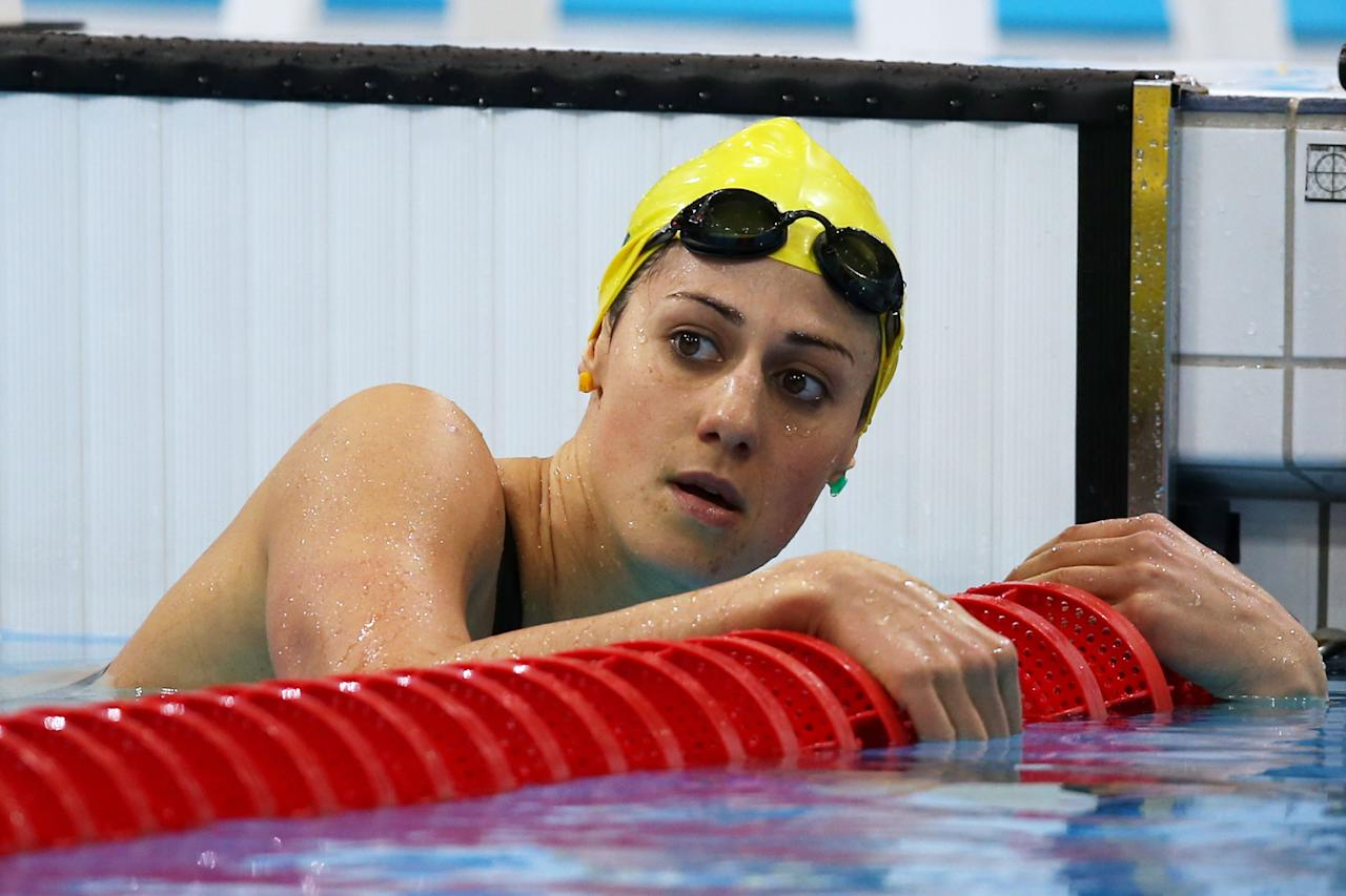 LONDON, ENGLAND - JULY 30:  Stephanie Rice of Australia reacts after she competed in the second semifinal heat of the Women's 200m Individual Medleyon Day 3 of the London 2012 Olympic Games at the Aquatics Centre on July 30, 2012 in London, England.  (Photo by Clive Rose/Getty Images)