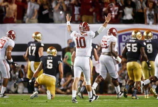 Alabama scored six touchdowns against Notre Dame's vaunted defense. (AP)