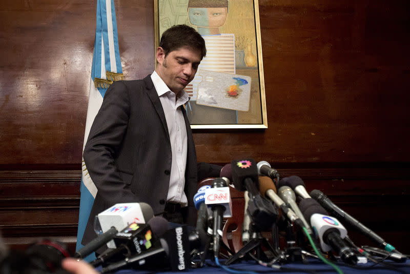 Argentina's Economy Minister Axel Kicillof arrives at a press conference at the Argentine Consulate in New York