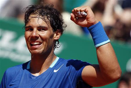 Rafael Nadal of Spain reacts after defeating Andreas Seppi of Italy during the Monte Carlo Masters in Monaco