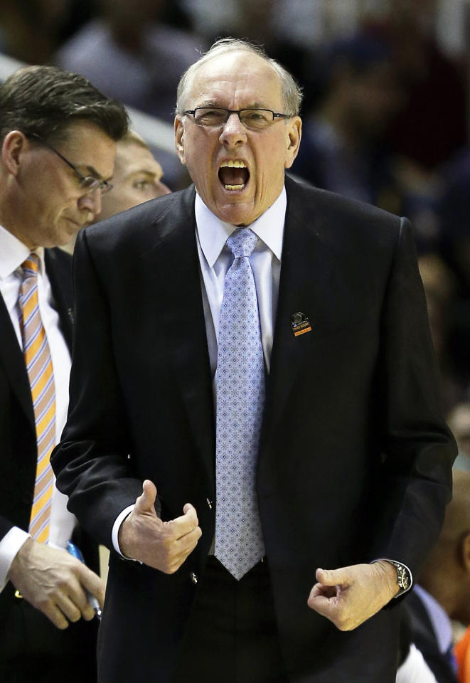 Head coach Jim Boeheim of the Syracuse Orange reacts in the first half against the California Golden Bears during the third round of the 2013 NCAA Men's Basketball Tournament at HP Pavilion on March 23, 2013 in San Jose, California.  (Photo by Ezra Shaw/Getty Images)