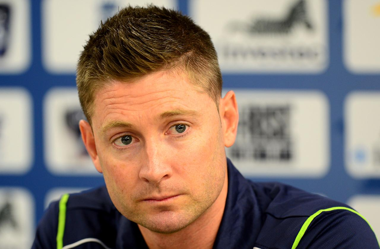 Australia captain Michael Clarke speaking during a press conference at Old Trafford Cricket Ground, Manchester.