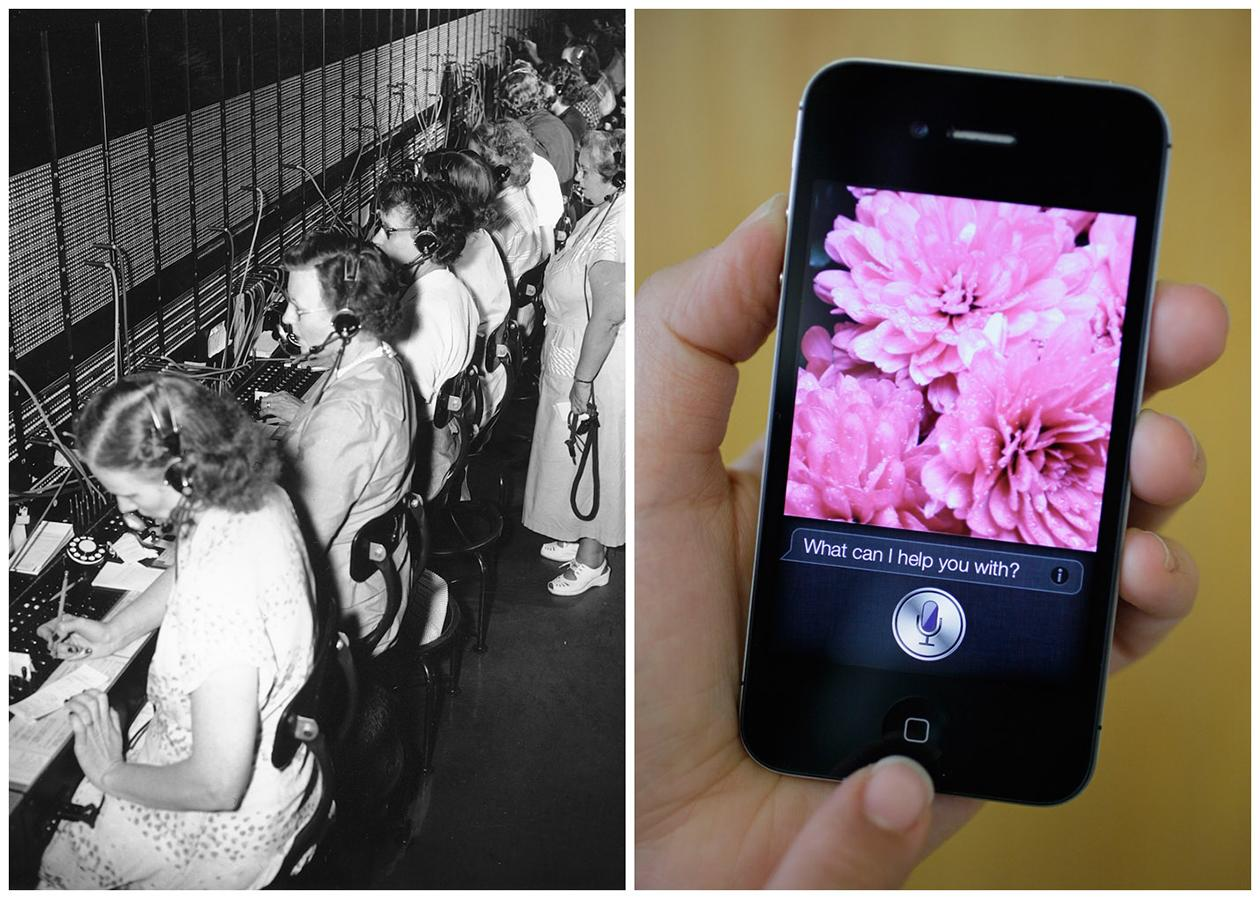 This combination of Associated Press file photos shows, left, the General Services Administration telephone switchboard and its operators in 1951, and right, Siri, Apple's virtual assistant, on the Apple iPhone 4S in 2011, in San Francisco. The number of  switchboard and telephone operators in the U.S. fell from 182,000 to 73,000 in 10 years through 2010 because of new technology.