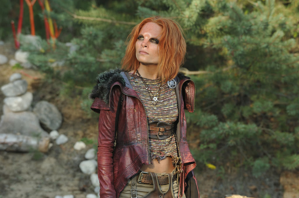 "Stephanie Leonidas as Irisa in the ""Defiance"" episode, ""Good Bye Blue Sky."""