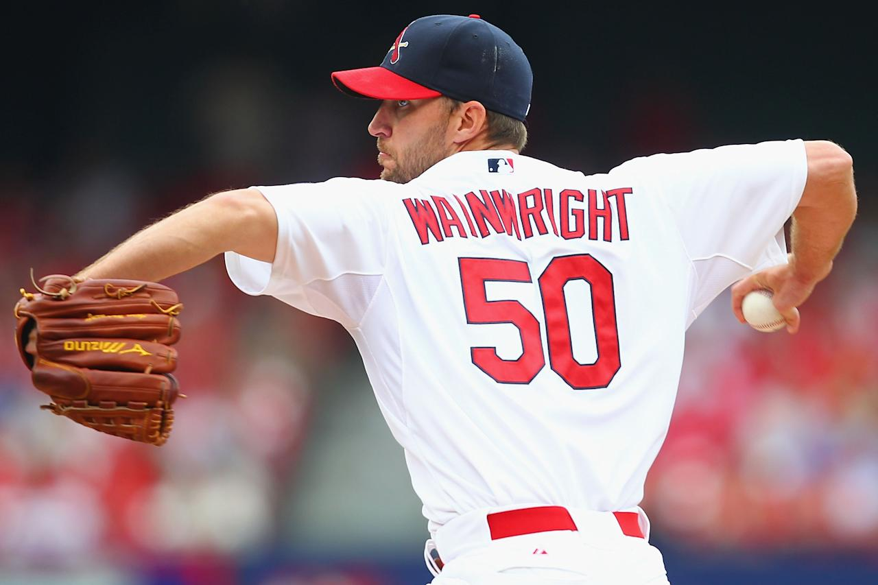 ST. LOUIS, MO - JULY 21: Starter Adam Wainwright #50 of the St. Louis Cardinals pitches against the San Diego Padres at Busch Stadium on July 21, 2013 in St. Louis, Missouri. (Photo by Dilip Vishwanat/Getty Images)