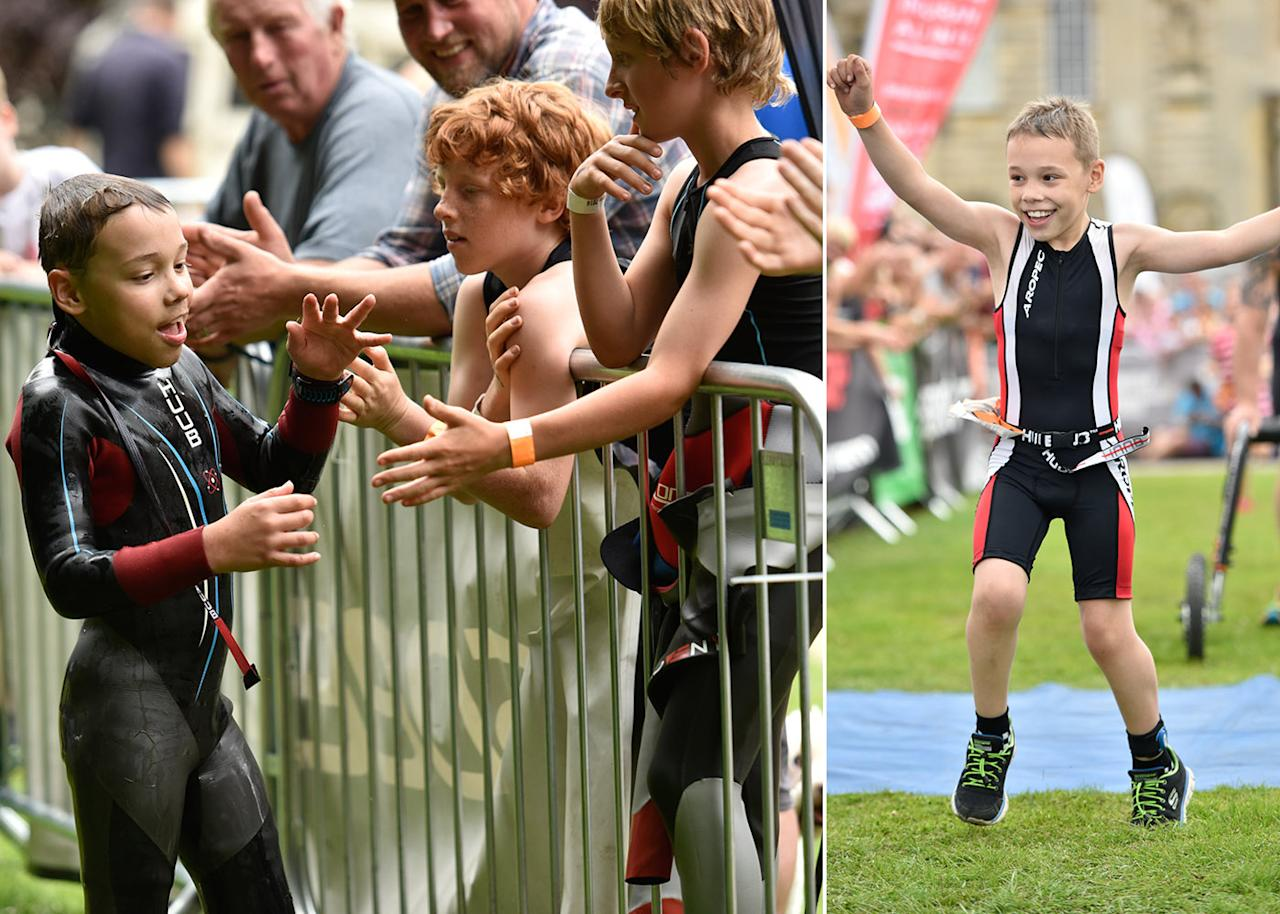 <p>Bailey Matthews, aged nine, who suffers from cerebral palsy, amazingly finished his SECOND triathlon in July – and even knocked seven minutes off his previous time. </p>