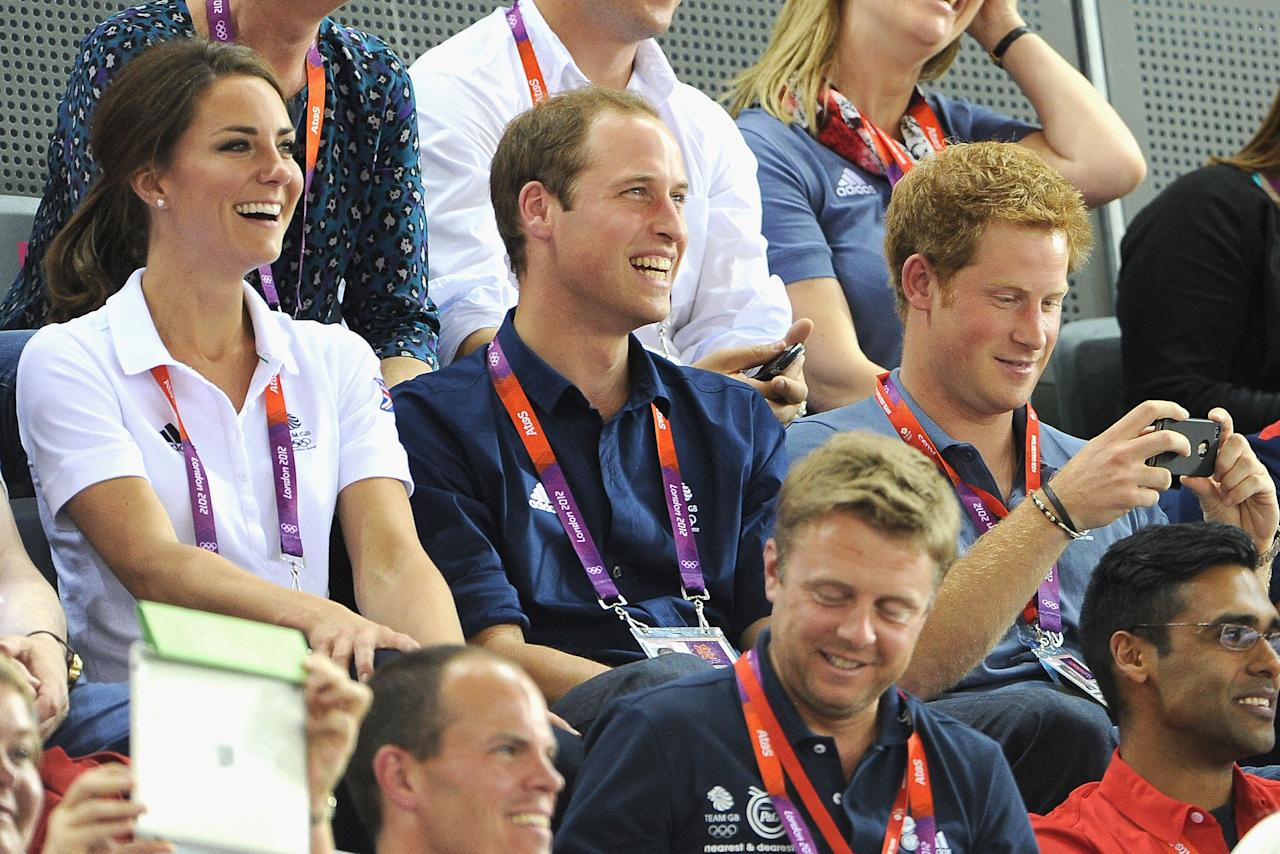 LONDON, ENGLAND - AUGUST 02:  Catherine, Duchess of Cambridge, Prince William, Duke of Cambridge and Prince Harry during Day 6 of the London 2012 Olympic Games at Velodrome on August 2, 2012 in London, England.  (Photo by Pascal Le Segretain/Getty Images)