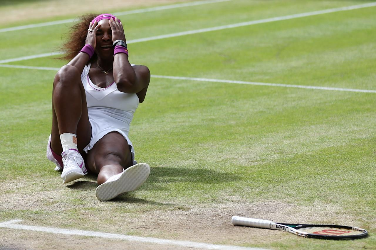 LONDON, ENGLAND - JULY 07:  Serena Williams of the USA celebrates match point during her Ladies? Singles final match against Agnieszka Radwanska of Poland on day twelve of the Wimbledon Lawn Tennis Championships at the All England Lawn Tennis and Croquet Club on July 7, 2012 in London, England.  (Photo by Clive Rose/Getty Images)