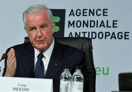 Newly elected WADA President Reedie gestures during the World Conference on Doping in Sports in Johannesburg