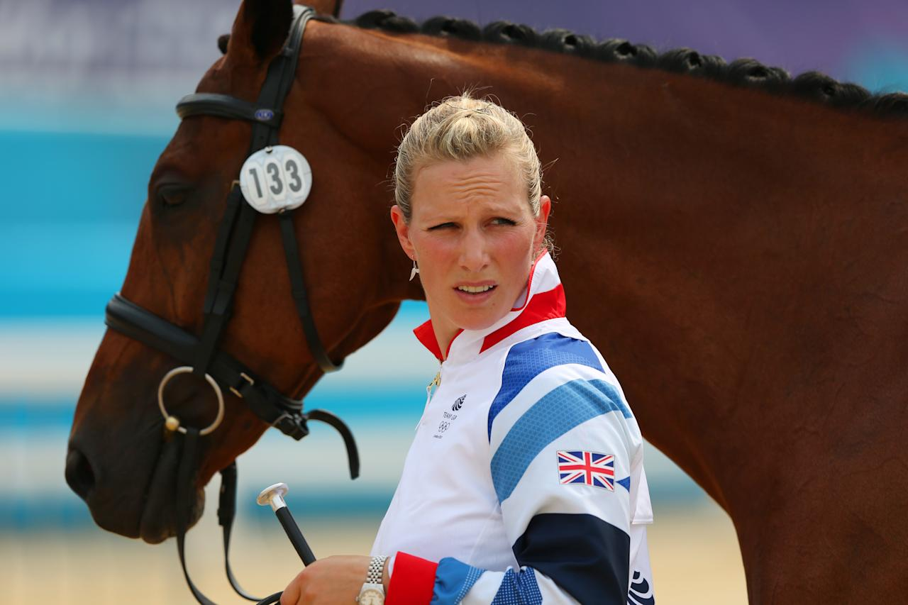 LONDON, ENGLAND - JULY 27:  Zara Phillips of Great Britain and her mount High Kingdom during an Equestrian Eventing Horse Inspection session ahead of the London 2012 Olympic Games at Greenwich Park on July 27, 2012 in London, England.  (Photo by Alex Livesey/Getty Images)