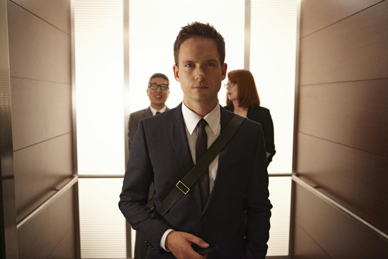"Patrick J. Adams as Mike Ross in the ""Suits"" Season 3 Premiere, ""The Arrangement."""