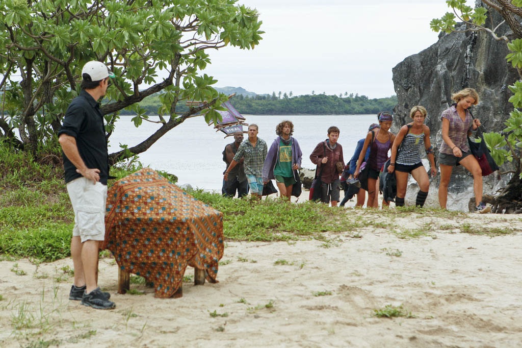 """Operation Thunder Dome"" - Jeff Probst welcomes the Bikal Tribe during the sixth episode of ""Survivor: Caramoan - Fans vs. Favorites."""