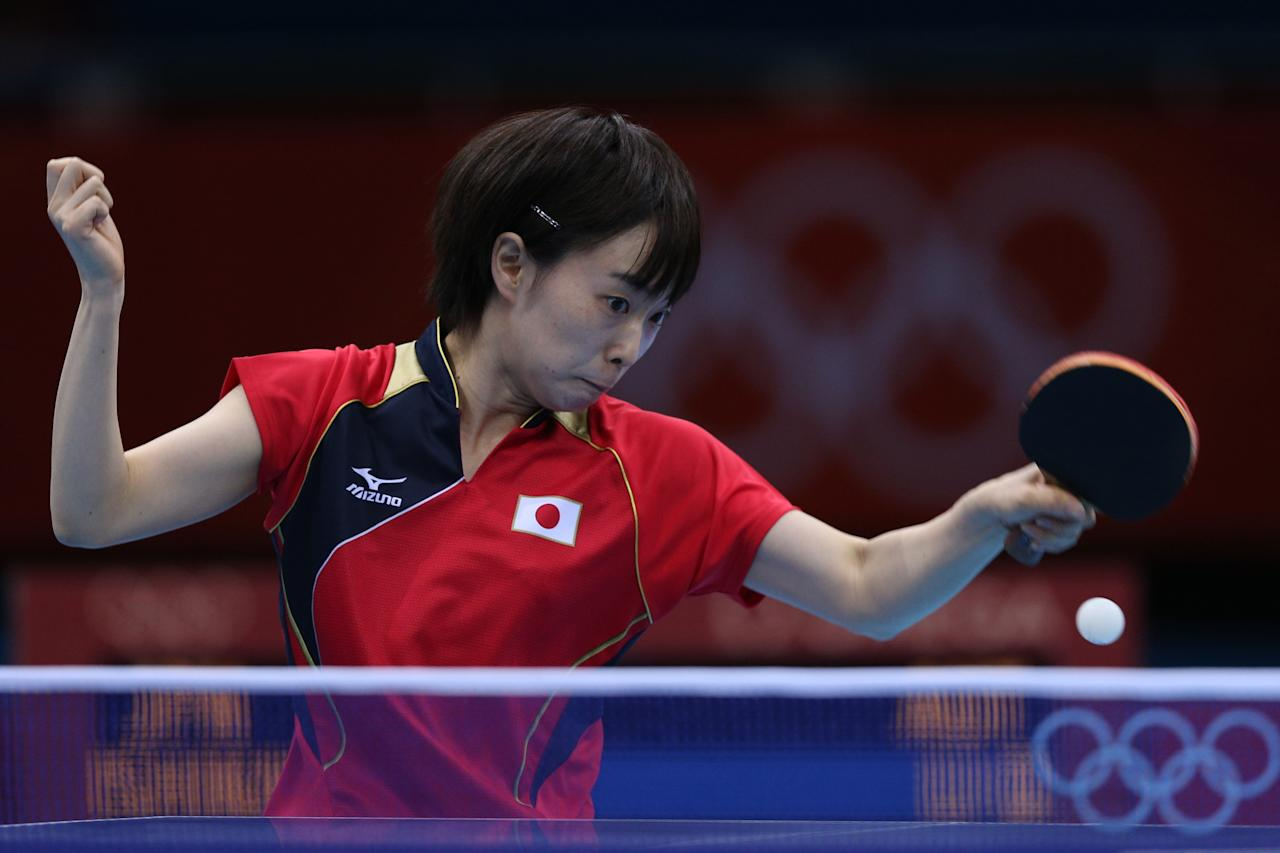 LONDON, ENGLAND - JULY 29:  Kasumi Ishikawa of Japan plays a forehand in her Women's Singles Table Tennis third round match against Li Qiangbing of Austria on Day 2 of the London 2012 Olympic Games at ExCeL on July 29, 2012 in London, England.  (Photo by Feng Li/Getty Images)