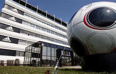 A giant soccer ball is seen in front of the Adidas building in Landersheim near Strasbourg
